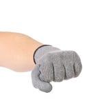 Silnej męskiej pracownik ręki rękawiczkowa zaciska pięść. fotografia royalty free