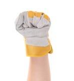 Silnej pracownik ręki rękawiczkowa zaciska pięść. zdjęcia royalty free