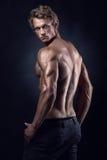 Silnej Sportowej mężczyzna sprawności fizycznej Wzorcowi pozuje tylni mięśnie zdjęcie stock