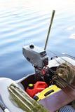 Silnik łódź rybacka i sprzęt Zdjęcie Stock