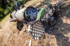 Silnik, łuska i system kontrolny, pocisk balistyczny, wojenny konflikt, Ukraina i Donbass po tym jak ono spadał zdjęcia stock