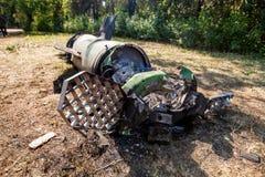 Silnik, łuska i system kontrolny, pocisk balistyczny, wojenny konflikt, Ukraina i Donbass po tym jak ono spadał obrazy royalty free