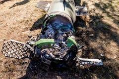 Silnik, łuska i system kontrolny, pocisk balistyczny, wojenny konflikt, Ukraina i Donbass po tym jak ono spadał obrazy stock