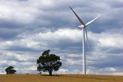 Silnik wiatrowy na gospodarstwie rolnym w środkowym Wiktoria, Australia Zdjęcia Stock