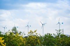 Silnik wiatrowy naturalnej energii zieleni Eco w?adzy krajobrazowy poj?cie przy silnikami wiatrowymi uprawia ziemi? niebieskie ni fotografia stock