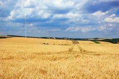 Silnik wiatrowy w polu Zdjęcie Royalty Free