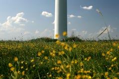 Silnik wiatrowy w śródpolnych kwiatach zdjęcie stock