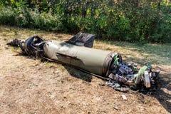 Silnik z elektronicznym farszem i przednią częścią uszkadzający pocisk balistyczny, wojenny konflikt, Ukraina i Donbass po tym ja fotografia royalty free