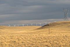 Silniki wiatrowi i linia energetyczna w koloru żółtego polu, łąka, przed deszczem wielki niebieski chmura wschodu brzegowego farm zdjęcie royalty free