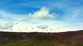 Silniki Wiatrowi na Lawendowych wzgórzach Fotografia Stock