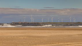 Silniki wiatrowi przy Północnym Dennym wybrzeżem, Hartlepool, UK Obraz Royalty Free