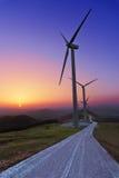 Silniki wiatrowi w Oiz eolic parku fotografia stock