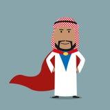 Silny arabski biznesmen w czerwonym przylądku Zdjęcia Royalty Free