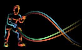 Silny bodybuilder sportowa m??czyzna z batalistycznym linowym robi ?wiczeniem w czynno?ciowym sta?owym sprawno?ci fizycznej gym ilustracji