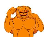 Silny Dyniowy myśliwski przygotowywający dla bitwy Halloweenowy charakteru dowcip Zdjęcie Stock