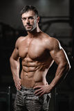 Silny i przystojny sportowy młodych człowieków mięśni abs i bicepsy Fotografia Stock