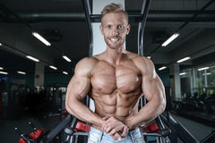 Silny i przystojny sportowy młodych człowieków mięśni abs i bicepsy Obrazy Royalty Free