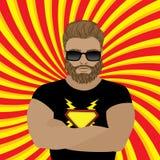 Silny mężczyzna, brodaty modniś lub super bohater, ilustracji