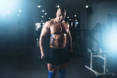 Silny męski bodybuilder szkolenie z dumbbells Obraz Stock