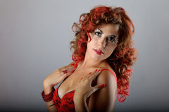 silny makeup włosiany portret Obrazy Royalty Free