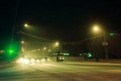Silny podmuchowy śnieg w mieście Obraz Royalty Free