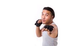 Silny sportowa uderzać pięścią Obraz Stock