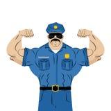 Silny władza funkcjonariusz policji wielki mężczyzna w policja mundurze Fotografia Royalty Free