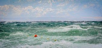 Silny wiatr, morze fala plaża i wybrzeże, lub Fotografia Stock