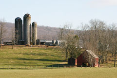Silo and Barn. House in Tennessee royalty free stock photos