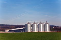 Silo in beautiful landscape in sun Royalty Free Stock Photos