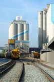 Silo of cereals and train Stock Photo