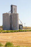 Silo di grano accanto ad un campo raccolto Fotografie Stock Libere da Diritti