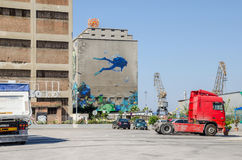 Silo and dry docks  buildings with the wall painting Royalty Free Stock Photography