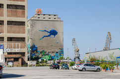 Silo en droogdokkengebouwen met het muurschilderij Stock Fotografie