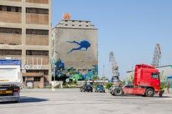 Silo en droogdokkengebouwen met het muurschilderij Royalty-vrije Stock Fotografie