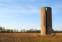Silo in a field Royalty Free Stock Images