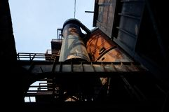 Silo industrial steel iron oven blast furnace factory Landschaftspark, Duisburg, Germany royalty free stock image