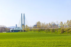 Silo in Industry Park in beautiful landscape near Frankfurt Royalty Free Stock Image