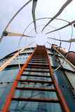 Silo Ladder. Ladder going up on side of silo stock image