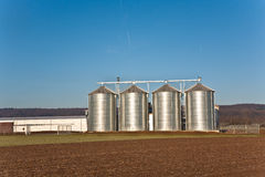 Silo in landscape with clear blue sky Royalty Free Stock Images