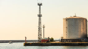 Silo in morning harbour. Royalty Free Stock Image