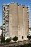 Soaring triple silos of famous traveler attraction of Silo Park in Wynyard Quarter, Auckland, New Zealand royalty free stock images