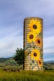 Silo rural da exploração agrícola do girassol do rancho fotos de stock