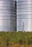 Silo's in groen landschap Stock Afbeeldingen