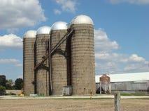 Silo's op een landbouwbedrijf Stock Foto's