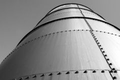 Silo Side. Looking up side of silo on farm Stock Images