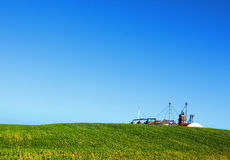 Silo in the soybean fields of Rio Grande do Sul. Silo in the soybean feld, the silo is used to store the beans of soy, rice, wheat Stock Photography