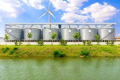 Silo structure for storing bulk dried seed factory. For keep inventory. agricultur industry Stock Photography