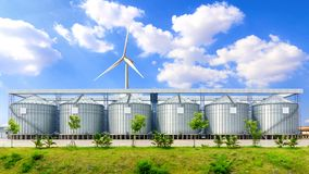 Silo structure for storing bulk dried seed factory. For keep inventory. agricultur industry Stock Image