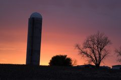 Silo at Sunset Royalty Free Stock Photo